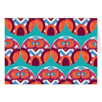 Crazy Owl Colorful Chevron Purple Orange Pink Blue Stationery Note Card