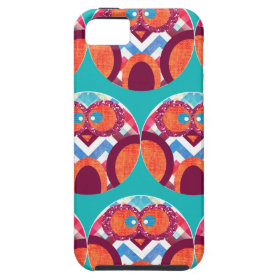 Crazy Owl Colorful Chevron Purple Orange Pink Blue iPhone 5 Cover
