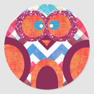 Crazy Owl Colorful Chevron Purple Orange Pink Blue Classic Round Sticker