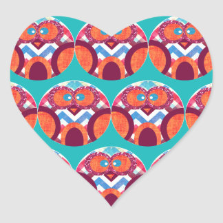 Crazy Owl Colorful Chevron Purple Orange Pink Blue Heart Sticker