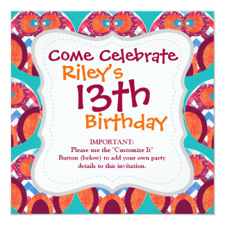 Crazy Owl Colorful Chevron Purple Orange Pink Blue 5.25x5.25 Square Paper Invitation Card