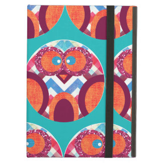 Crazy Owl Colorful Chevron Purple Orange Pink Blue Cover For iPad Air