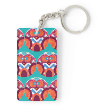 Crazy Owl Colorful Chevron Purple Orange Pink Blue Keychain