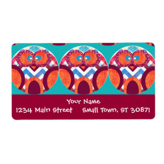 Crazy Owl Colorful Chevron Purple Orange Pink Blue Shipping Label