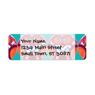 Crazy Owl Colorful Chevron Purple Orange Pink Blue Return Address Label