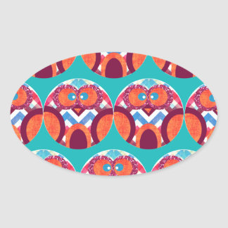 Crazy Owl Colorful Chevron Purple Orange Pink Blue Oval Sticker