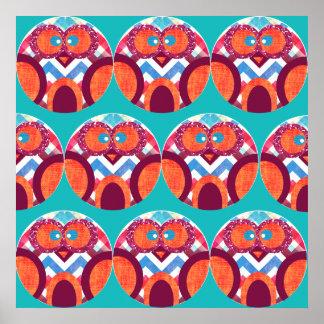 Crazy Owl Colorful Chevron Purple Orange Pink Blue Posters
