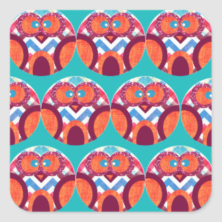 Crazy Owl Colorful Chevron Purple Orange Pink Blue Square Sticker