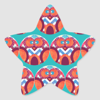Crazy Owl Colorful Chevron Purple Orange Pink Blue Star Sticker