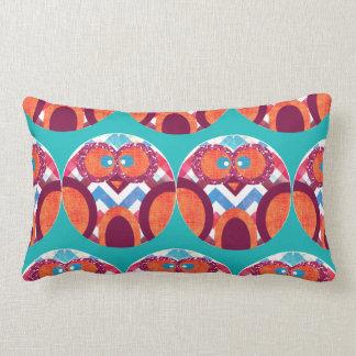 Crazy Owl Colorful Chevron Purple Orange Pink Blue Throw Pillow