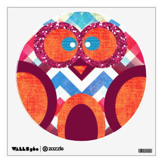 Crazy Owl Colorful Chevron Wall Decal
