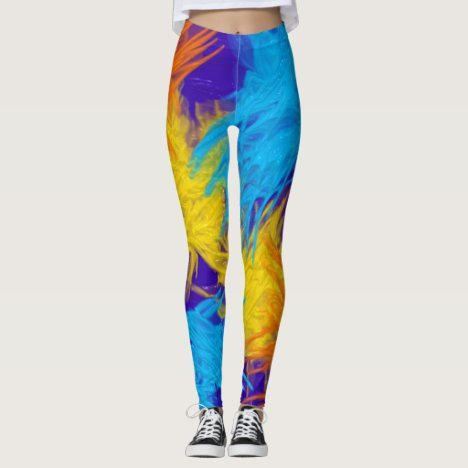 Crazy painted brush strokes realistic texture leggings