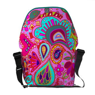 Crazy Paisley Fuchsia Pink, Pink, Pink BAG Courier Bags