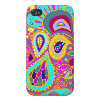 Crazy Paisley Grape & Turquoise CASE iPhone 4/4S Covers