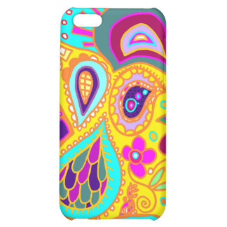 Crazy Paisley in Yellow, turquoise, pink CASE iPhone 5C Cover