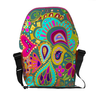 Crazy Paisley Jade, turquoise, yellow, Pink  BAG Courier Bag