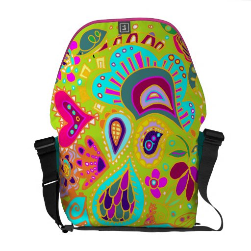 Crazy Paisley Lime Green, Turquoise, Pink BAG