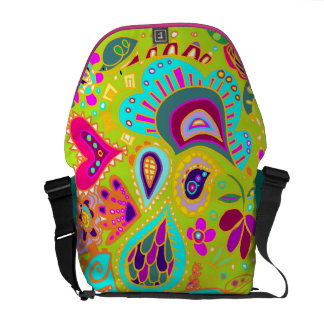 Crazy Paisley Lime Green, Turquoise, Pink BAG Commuter Bag
