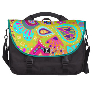 Crazy Paisley LIME & Turquoise/Pink Bag For Laptop