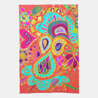 Crazy Paisley Orange Kitchen Towel