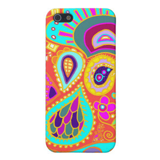 Crazy Paisley Orange, Turquoise, yellow CASE Covers For iPhone 5