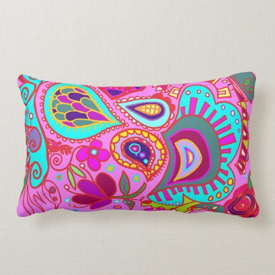 Crazy Paisley  Pink & Lime Green pillow TWO sides