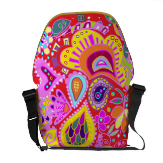 Crazy Paisley RED yellow, pink, orange  Bag Courier Bags