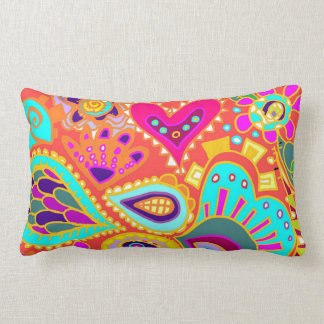 Crazy Paisley TWO sided Lumbar Orange & LIME Pillow