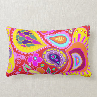 Crazy Paisley TWO sided lumbar RED & Yellow Pillow
