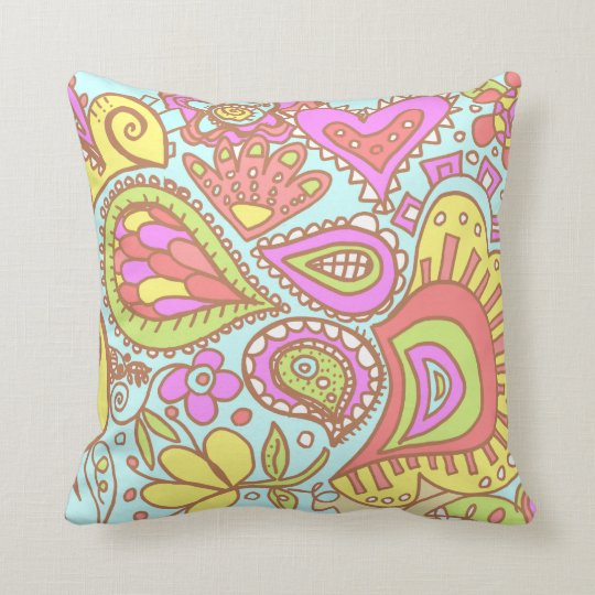 Crazy Paisley TWO sided Pale Blue Yellow Pink Sand Throw Pillow