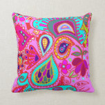 Crazy Paisley TWO sided PINK & PURPLE Throw Pillow