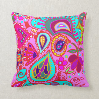 Crazy Paisley TWO sided PINK & PURPLE Throw Throw Pillow