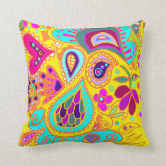 Crazy Paisley Yellow & RED Two-sided Throw Pillow