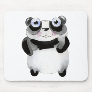 Crazy Panda Bear, black and white Mouse Pad