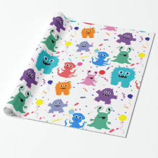 Crazy Party Monster Pattern Colorful Birthday Wrapping Paper