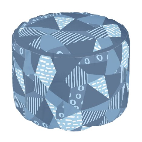 Crazy patchwork geometric shapes pouf