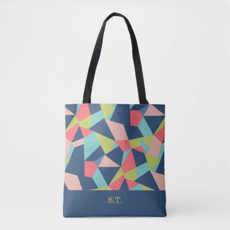 Crazy patchwork monogram salmon, blue, aqua, green tote bag