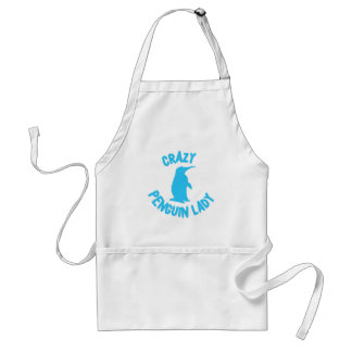 crazy penguin lady adult apron
