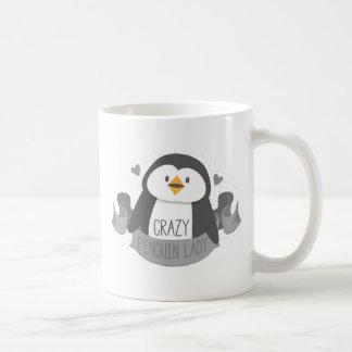 crazy penguin lady banner coffee mug