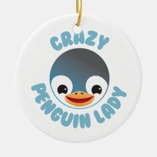 crazy penguin lady circle ceramic ornament