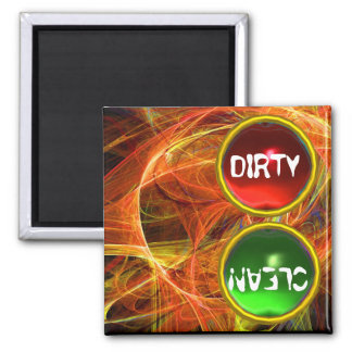 CRAZY PHOTON  AND RED GREEN GEMS Dirty Clean 2 Inch Square Magnet