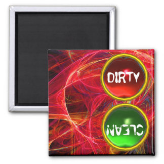 CRAZY PHOTON  AND RED GREEN GEMS Dirty Clean Magnet