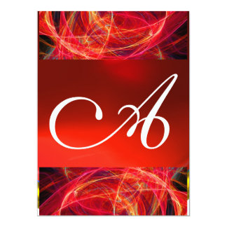 CRAZY PHOTON MONOGRAM red black pink Card