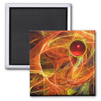 CRAZY PHOTON  WITH RED RUBY GEMSTONE 2 INCH SQUARE MAGNET