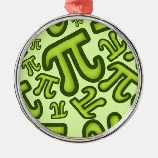 Crazy Pi Numbers - Green Metal Ornament
