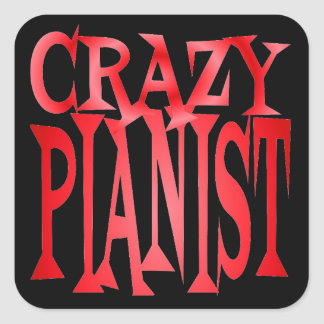 Crazy Pianist in Red Square Sticker