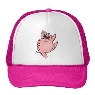 Crazy Pig   Crazy Pig Dancing   Crazy Cartoon Pig Trucker Hat