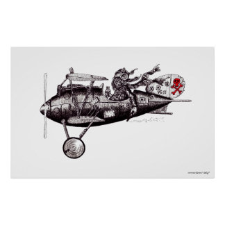 Crazy pilot on vintage plane black and white art poster
