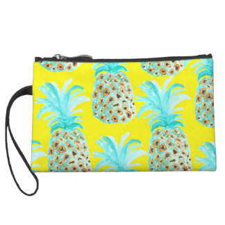 Crazy Pineapples yellow mint Wristlet Clutches