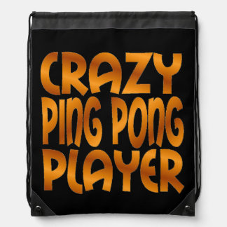 Crazy Ping Pong Player in Gold Drawstring Bag